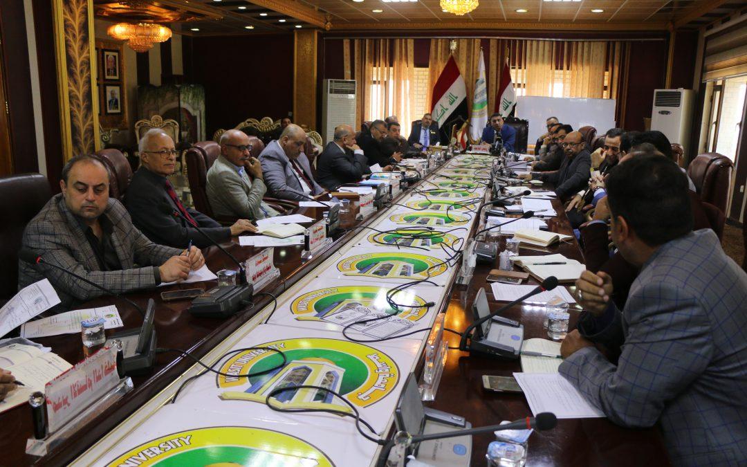 مجلس جامعة واسط يعقد جلسته الاعتيادية التاسعة للعام الدراسي 2018/2019