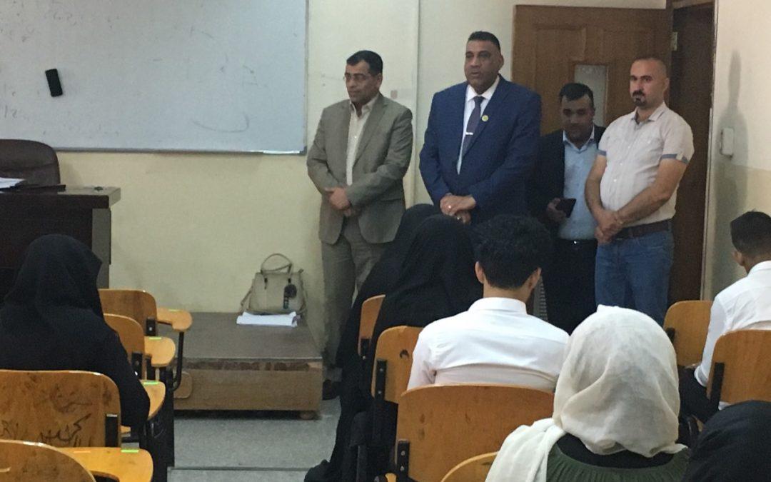 رئيس جامعة واسط يزور اللجنة المركزية والقاعات الامتحانية لكلية التربية للعلوم الصرفة